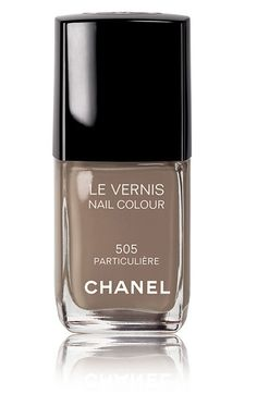 This is spring's most coveted nail polish, the mushroom colored Chanel 505 Particuliére. It was used in the Chanel S/S 2010 runway show, a. Chanel Nail Polish, Chanel Nails, Mani Pedi, Manicure And Pedicure, Mode Inspiration, Nails Inspiration, Essie, Gloss Matte, Perfume