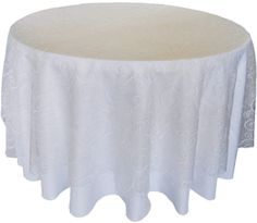 """Cake table--on top of coral tablecloth 108""""  Round Seamless Embroidered Organza Overlay- White (1pc/pk)"""