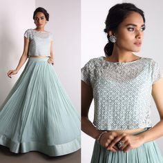 Bugle beads embroidered crop top with icy blue skirt