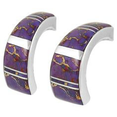 Sterling Silver Purple Turquoise Earrings