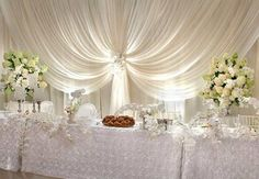 Discover thousands of images about Wedding Backdrops, Pipe and Drape Head Table Wedding, Wedding Reception Backdrop, Wedding Stage, Reception Decorations, Event Decor, Wedding Ceremony, Dream Wedding, Wedding Centerpieces, Head Table Decor