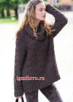 В стиле Оверсайз. Коричневый теплый пуловер с резинкой из «кос». Вязание спицами