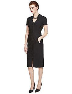 Black Speziale PETITE Zipped Front Bodycon Dress per Una 100.