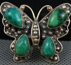Rare-Old-Pawn-Vintage-NAVAJO-Green-Turquoise-BUTTERFLY-Sterling-Ring-SZ-8