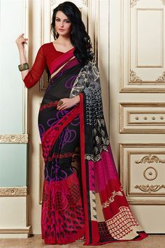 Attractive Black And Red Color Printed Saree