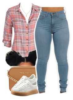 """""""because tomorrow is plaid shirt day at school..."""" by trinityannetrinity ❤ liked on Polyvore featuring maurices, Michael Kors and Puma"""