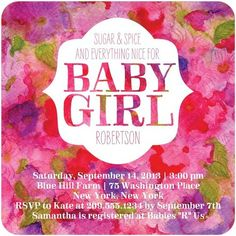 Budding Beauty - Baby Shower Invitations - Baumbirdy - Begonia - Pink : Front