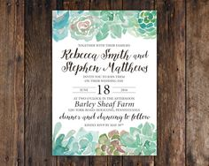 Succulent wedding invitations vintage rustic modern recycled this listing includes 5x7 invitations on heavy high quality matte or cream cardstock tthese rustic bohemian watercolor succulent stopboris Image collections