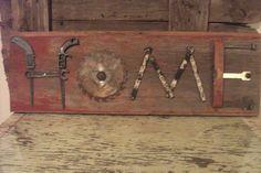 Tool Art on Barn Wood  Created by Marie