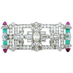 Art Deco Plaque Pin. Diamond, Ruby, and Chyrsophrase Platinum.