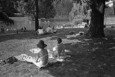 Alain Liennard - Scène estivale au bord du lac du bois de Boulogne, le 12/08/1973