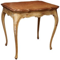 Italian Painted Occasional Table with Leather Top   From a unique collection of antique and modern end tables at https://www.1stdibs.com/furniture/tables/end-tables/