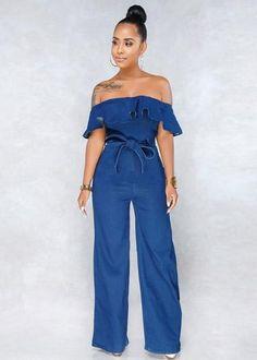 e540bb47b Compre Macacão Pantalona Jeans Ombro a Ombro com Babado | UFashionShop  Macacão Feminino Longo, Macacão