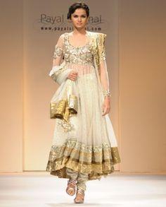 #Exclusivelyin, #IndianEthnicWear, #IndianWear, #Fashion, Off White Net Suit with Crystal Yoke