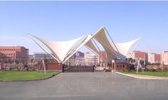 TI Tensile Structures Manufacturers world-class Tensile Structures, which are… Fabric Structure, Roof Structure, Shade Structure, Building Structure, Gate Design, Roof Design, Swimming Pool Enclosures, Membrane Structure, Tensile Structures