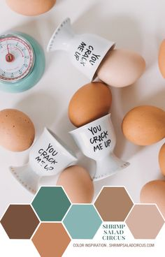 Beautiful color palette inspiration just in time for Easter, featuring natural eggs and a cute, punny little handmade ceramic egg cup! Lots of brown, beige, blue, and turquoise!