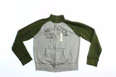 Hollister Mens Track Jacket Size L Large Olive Green Full Zip Graphic Pockets  #Holliister #Hoodie