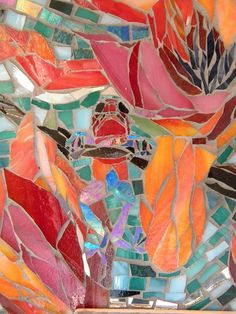 Mosaic tree frog, kitchen backsplash. Molly Moblo Perusse