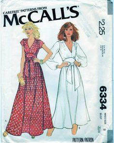 Vintage Misses Easy Elegant VNeck Dress McCalls 6334 WaywardWindCrafts, $4.99