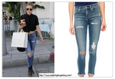 Gigi Hadid is wearing  A Gold E Sophie High Rise Skinny Dark Jeans. On Final sale at $124, used to be $158 USD. - Best Dark Jeans as seen on Celbs