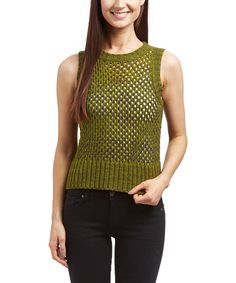 This Moss Open-Knit Sleevless Sweater by kersh is perfect! #zulilyfinds