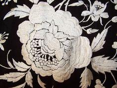 Antique Black & White Floral Silk Embroidered Canton Piano Shawl