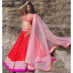 Poly Silk Red Embroidered Semi Sticthed Lehenga - ARO12