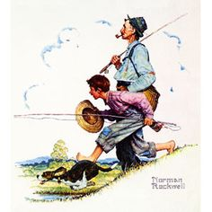 """""""Grandpa and Me: Fishing"""" by artist Norman Rockwell"""