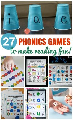 27 Phonics Games that make reading fun! Kids will love these fun hands-on phonics games that teach letter sounds, digraphs, letter blends, vowel sounds, and more! Phonics For Kids, Preschool Phonics, Learning Phonics, Phonics Reading, Kindergarten Learning, Learning To Read Games, Preschool Alphabet, Alphabet Crafts, Learn To Read Kindergarten