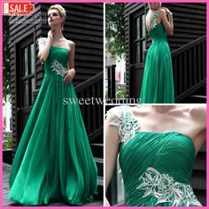 Wholesale Prom Dresses - Buy 2012 New Comming One-shoulder Court Train Appliqued Ruffer Satin Evening Emerald Green Prom Dresses, $108.19 | DHgate