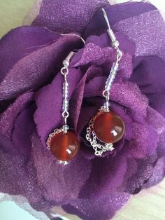 Red Carnelian Earrings, Beaded Earrings, Mothers Day Gift, Gift For Her, Cheap Gift, Clip On Earrings, Chain Earrings, Birthday, UK Shop by MadeByMissM on Etsy