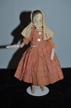 Old Wood Doll Grodnertal Doll Dressed Jointed Sweet! Wooden Figurines, Wooden Dolls, Old Dolls, Antique Dolls, William And Mary, Doll Costume, Costumes, Clothespin Dolls, Doll Stands