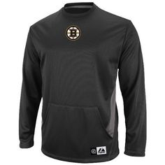 "Boston Bruins Majestic NHL ""Checking from Behind"" Performance Crew Sweatshirt by Majestic. $49.95. Keep warm during the game with this ""Checking from Behind"" crew fleece sweatshirt from Majestic. Features long-sleeves, contrast piecing at side body, and a convenient pouch pocket. Design includes embroidered team graphic, ribbed neck band, and a comfortable classic fit. Made of 100% polyester mesh fleece and officially licensed by the NHL."