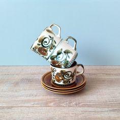Vaisselle d'europen Vintage BOCH Argenteuil Set 3 tasses et