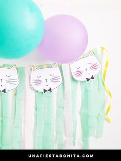 Musings of an Average Mom: Cat Birthday Summer Birthday, Cat Birthday, First Birthday Parties, Third Birthday, Birthday Ideas, Happy Birthday, Kitten Party, Cat Party, Balloon Garland