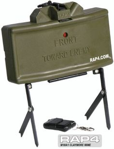 Airsoft M18A1 Claymore Mine - paintball grenade by Rap4. $122.00. Airsoft M18A1 Claymore Mine is remote detonated. One remote can control up to 4 land mines. Mine features : - 1/1BB anti-infantry rifle - Use 6mm BB bullets - 200 shots of BB bullets in one shoot - Shooting range is 20M - Suitable for repeated use - Batteries and remote control are included.