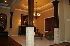 Wood and Rock Columns  #customhome #columns #livingspaces www.johnjohnsoncustomhomes.com