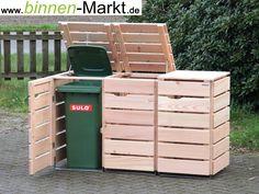 Garbage bin box wood - wood way Garbage Can Shed, Garbage Can Storage, Storage Bins, Hide Trash Cans, Trash Bins, Recycling Containers, Recycling Bins, Bin Store Garden, Bin Shed