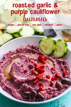 Roasted Garlic and Purple Cauliflower Hummus is a tasty lower-carb snack youll love. Roasted Garlic and Purple Cauliflower Hummus is colorful and easy to make as your next snack or appetizer. Purple Cauliflower Recipe, Cauliflower Hummus, Roasted Cauliflower, Cauliflower Recipes, Roasted Garlic, Healthy Appetizers, Appetizer Recipes, Snack Recipes, Dessert Recipes