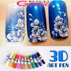 BeautyGaGa 12 Colors 3D Acrylic Nail Polish Pen Solid Glitter Gel Nail Art Painting DIY Design Drawing Colourful Colouring Pens