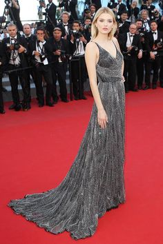 Cannes Film Festival: Lily Donaldson in a Saint Laurent beaded gown. Click through for the full gallery