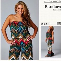 """HP 3/14STRAPLESS PALAZZO JUMPSUIT 5th REORDER! This jumpsuit is so flattering! Great colors & patterns. It can be worn many ways: as it is, with a cardigan, with a pullover, with a jean jacket or vest! 100% polyester, so the perfect, non wrinkle travel piece. Elastic at to top you roll under so it stays up & also at the waist. ♦️1X: up to 42-38-48""""♦️2X: up to 46-40-50""""♦️3X: up to 50-42-52"""". INSEAM 29.5""""PLEASE DO NOT BUY THIS LISTING! I will personalize one for you. tla2 Other"""