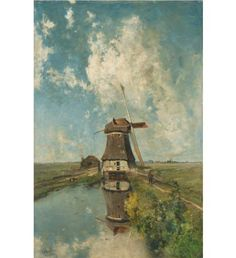 A Windmill on a Polder Waterway reproduction by Paul Joseph Constantin Gabriel collection Rijksmuseum Paper Windmill, Dutch Windmill, Gabriel, Oil On Canvas, Canvas Art, Dutch Painters, Decoupage Paper, Giclee Print, Photo Wall Art