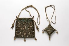 Bag and pin cushion Place of origin: England, Great Britain (made) Date: (made) Artist/Maker: Unknown (production) Materials and Techniques: Silk, silver, silver-gilt and pearls; hand sewn and hand embroidered Potli Bags, Sweet Bags, Embroidered Bag, Gold Work, Vintage Purses, Sewing Accessories, Hand Sewing, Sewing Kits, Embroidery Techniques