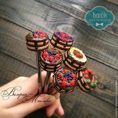Купить Вкусные ложки с шоколадным тортиком из полимерной глины - коричневый, шоколадный, торт, шоколадный торт