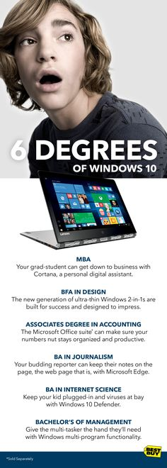 Now's the time students start thinking about what's next. Maybe they're on their way to college. Maybe they're heading off into the real world. Either way they'll need all the support they can get. And whatever their degree, Windows 10 is designed to help them succeed. This isn't just an operating system, it's a life hack built to make anyone do more. Look to Best Buy to find out more...