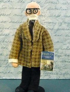 Sigmund Freud Doll Miniature in Brown Houndstooth Suit and Spectacles. $39.00, via Etsy.