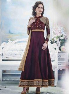 Blooming Wine Satin Chiffon Embroidery Diamond Work   Anarkali Suit http://www.angelnx.com/Salwar-Kameez/Anarkali-Suits