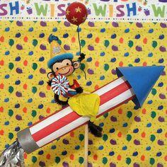 Rocket Riding Monkey Cake Topper by marileejanedesigns.etsy.com