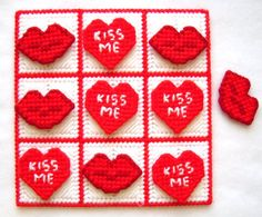 TicTacToe Game  Kiss Me  Hot Red by gailscrafts on Etsy, $7.00